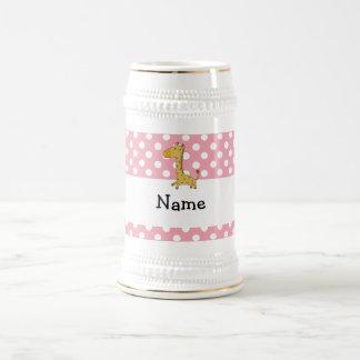 Personalized name giraffe pink polka dots coffee mugs