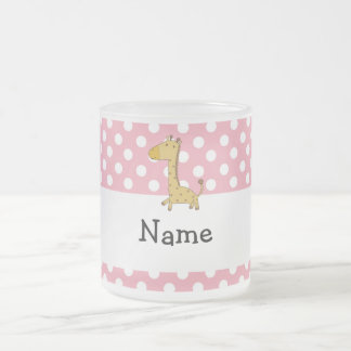 Personalized name giraffe pink polka dots mug