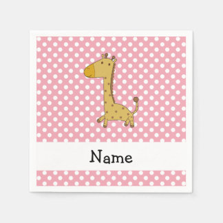 Personalized name giraffe pink polka dots standard cocktail napkin