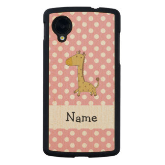 Personalized name giraffe pink polka dots carved® maple nexus 5 slim case