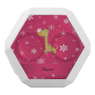 Personalized name giraffe pink snowflakes white boombot rex bluetooth speaker