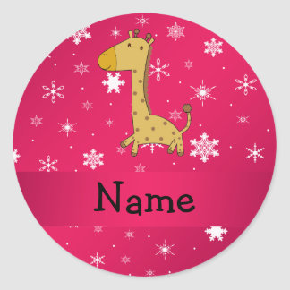 Personalized name giraffe pink snowflakes classic round sticker