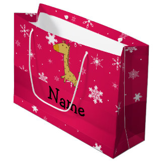 Personalized name giraffe pink snowflakes large gift bag