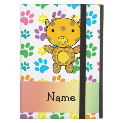 Personalized name giraffe rainbow paws iPad covers