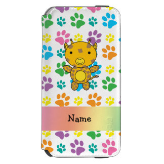 Personalized name giraffe rainbow paws incipio watson™ iPhone 6 wallet case