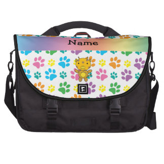 Personalized name giraffe rainbow paws laptop bags
