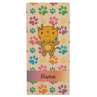 Personalized name giraffe rainbow paws wood USB 2.0 flash drive