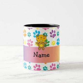 Personalized name giraffe rainbow paws coffee mug