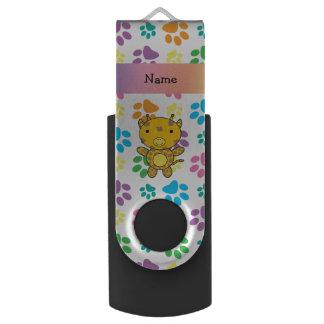 Personalized name giraffe rainbow paws swivel USB 2.0 flash drive
