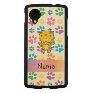 Personalized name giraffe rainbow paws carved® maple nexus 5 slim case