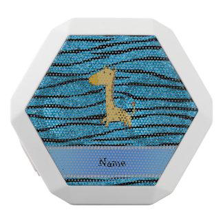 Personalized name giraffe sky blue zebra stripes white boombot rex bluetooth speaker
