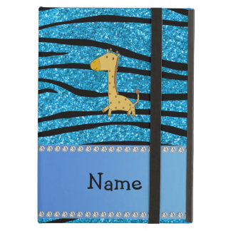 Personalized name giraffe sky blue zebra stripes iPad cover