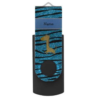 Personalized name giraffe sky blue zebra stripes swivel USB 2.0 flash drive