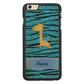 Personalized name giraffe sky blue zebra stripes carved® maple iPhone 6 plus case
