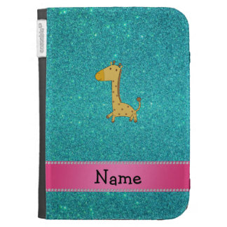 Personalized name giraffe turquoise glitter kindle cover