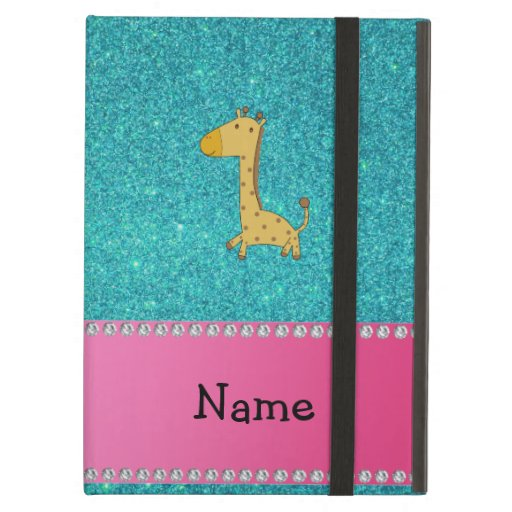 Personalized name giraffe turquoise glitter iPad cases