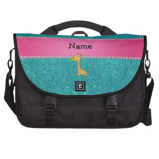 Personalized name giraffe turquoise glitter commuter bag