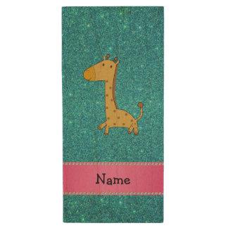 Personalized name giraffe turquoise glitter wood USB 2.0 flash drive
