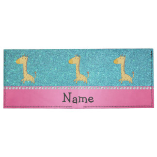 Personalized name giraffe turquoise glitter billfold wallet