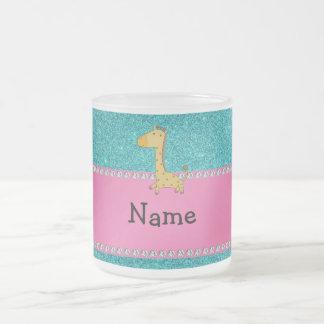 Personalized name giraffe turquoise glitter mug