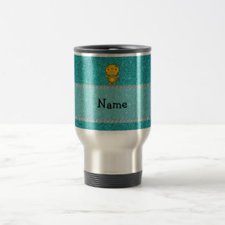Personalized name giraffe turquoise glitter mugs