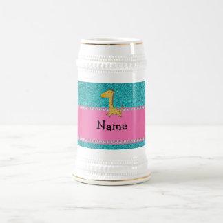 Personalized name giraffe turquoise glitter coffee mugs