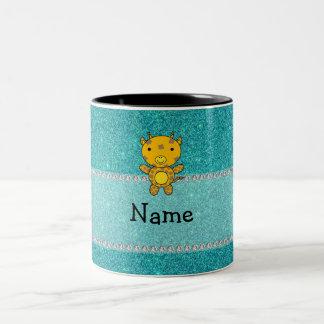 Personalized name giraffe turquoise glitter coffee mug