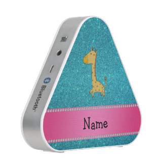 Personalized name giraffe turquoise glitter bluetooth speaker