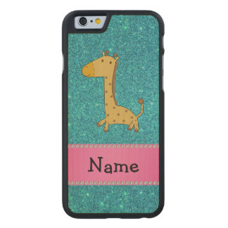 Personalized name giraffe turquoise glitter carved® maple iPhone 6 case