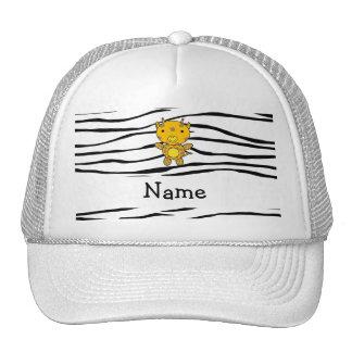 Personalized name giraffe zebra stripes mesh hat