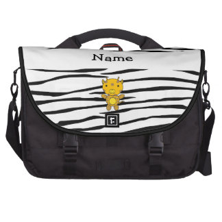 Personalized name giraffe zebra stripes laptop commuter bag