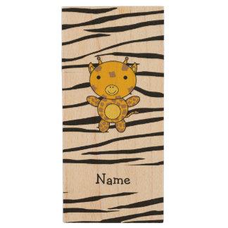 Personalized name giraffe zebra stripes wood USB 2.0 flash drive