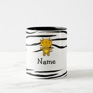 Personalized name giraffe zebra stripes mugs