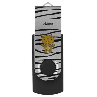 Personalized name giraffe zebra stripes swivel USB 2.0 flash drive