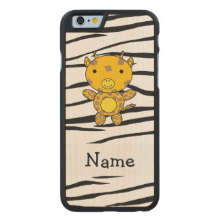 Personalized name giraffe zebra stripes carved® maple iPhone 6 slim case