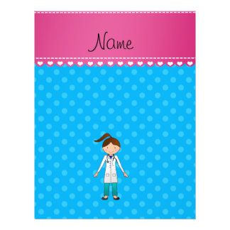 Personalized name girl doctor blue polka dots personalized flyer