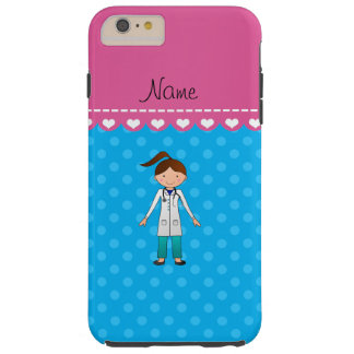 Personalized name girl doctor blue polka dots tough iPhone 6 plus case