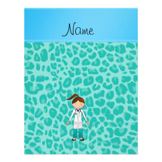 Personalized name girl doctor green leopard flyer