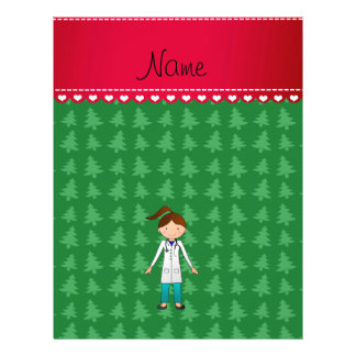 Personalized name girl doctor green trees custom flyer
