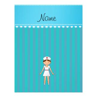 Personalized name girl nurse turquoise stripes flyer design