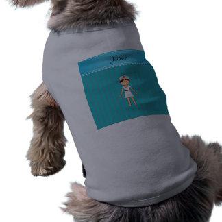 Personalized name girl nurse turquoise stripes sleeveless dog shirt