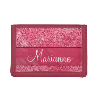 Personalized Name Girly Glitter Pink Red Jewel Trifold Wallets