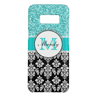Personalized Name Girly Teal Glitter Black Damask Case-Mate Samsung Galaxy S8 Case