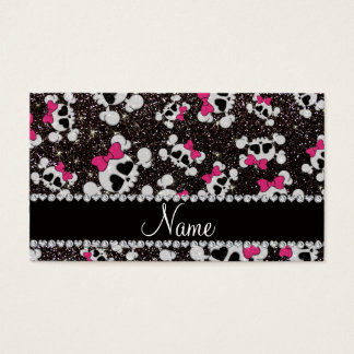 Personalized name glitter black skulls pink bows business card
