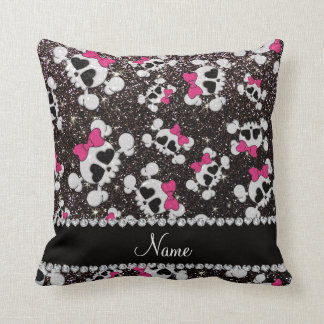 Personalized name glitter black skulls pink bows cushion