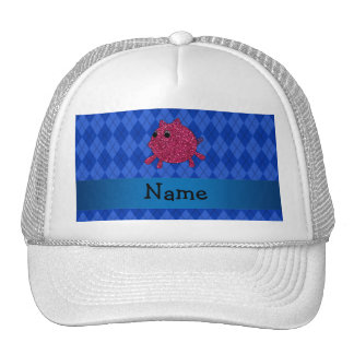 Personalized name glitter pig blue argyle mesh hats