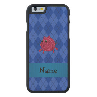 Personalized name glitter pig blue argyle carved® maple iPhone 6 slim case