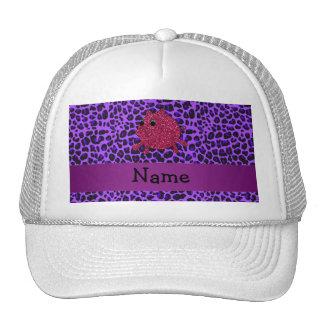 Personalized name glitter pig purple leopard hat
