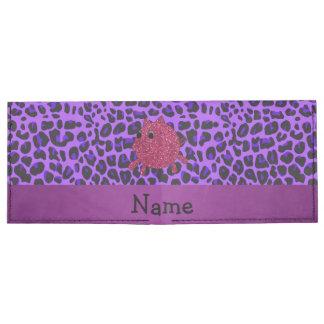 Personalized name glitter pig purple leopard billfold wallet