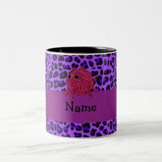 Personalized name glitter pig purple leopard coffee mugs